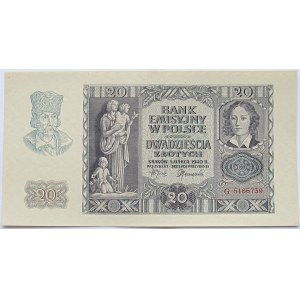 Polska, Generalna Gubernia, 20 złotych 1940, seria G, UNC