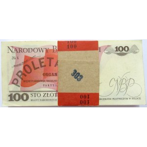 Polska, PRL, paczka bankowa 100 złotych 1988, seria TR
