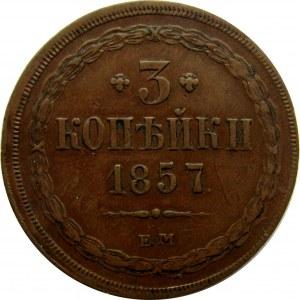 Rosja, Aleksander II, 3 kopiejki 1857 E.M., Jekaterinburg