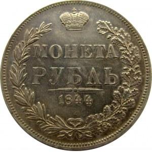 Mikołaj I, 1 rubel 1844 MW, Warszawa, nowy typ orła, bardzo ładny!