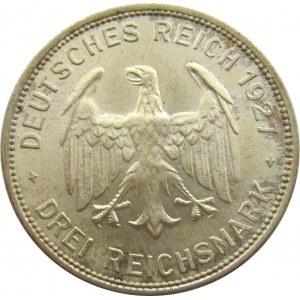 Niemcy, Republika Weimarska, 3 marki 1927, 450 lat Uniwersytetu w Tubingen, Stuttgart, UNC