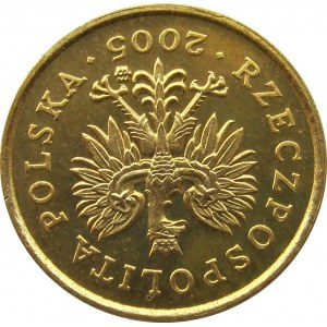 Polska, III RP, destrukt-odwrotka, 1 grosz 2005 o 180 stopni