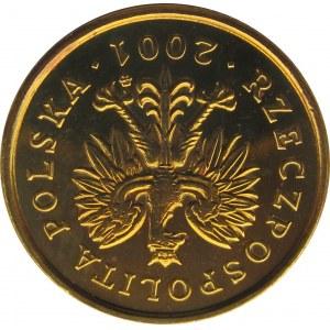 Polska, III RP, destrukt-odwrotka, 5 groszy 2001 o 180 stopni