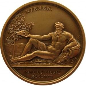 Francja/Prusy/Rosja, medal z zawarcia pokoju w Tylży w 1807, sygnowany