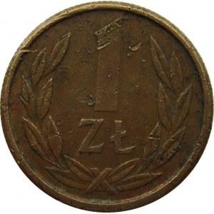 Polska, PRL, moneta-wpinka, wybita stemplem 1 złotego 1989 na krążku z brązu, RZADKOŚĆ!