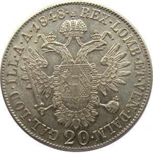 Austria, Franciszek Józef I, 20 kreuzer (krajcar) 1848 A, Wiedeń