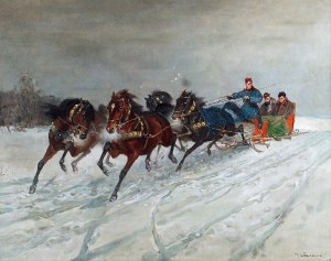 Czesław WASILEWSKI (ok. 1875-1946/47), Czwórka w zimowym pejzażu, 1927?