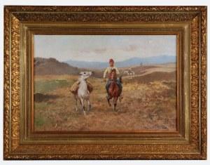 Tadeusz AJDUKIEWICZ (1852-1916), Jeździec z luzakiem, 1911