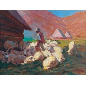 Zefiryn ĆWIKLIŃSKI (1871-1930), Juhas z owcami, 1923