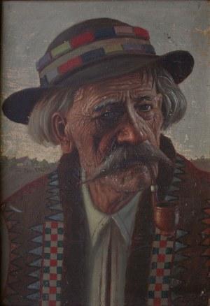 Konstanty Szewczenko (1910-1991), Portret starego hucuła z fajką