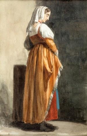 Walery Eljasz-Radzikowski (1841 Kraków – 1905 tamże), Kobieta w czerwonej sukni, 1882 r.