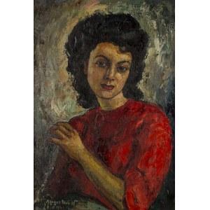Maurice Vagh-Weinmann (1899 Budapeszt – 1986 tamże), Portret kobiety w czerwonej sukni, 1945 r.