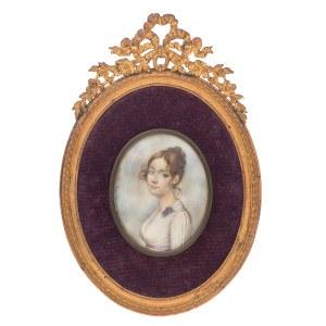 Anna Chamiec (1913-?), Miniatura w mosiężnej ramce – Dama z fiołkami, 1987 r.