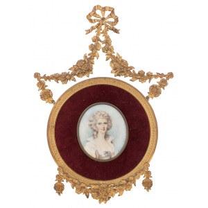 Anna Chamiec (1913-?), Miniatura w ramce z girlandą kwiatową – Portret damy, 1983 r.