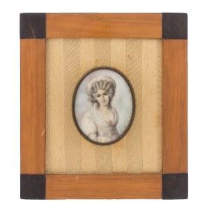 Anna Chamiec (1913-?), Miniatura – Portret damy w kapeluszu, 1981 r.