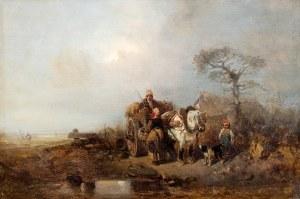 Eduard Hildebrandt (1817 Gdańsk – 1868 Berlin) Scena z wozem na siano, 1843 r.