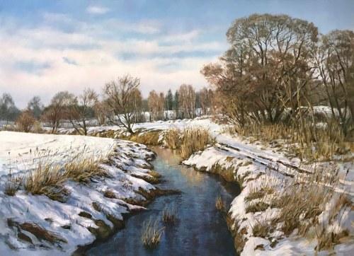 Wojciech Piekarski, Pejzaż zimowy z rzeką(2019)