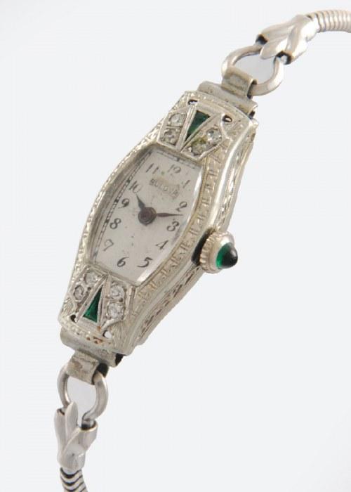 Firma BULOVA (zał. 1875), Zegarek damski naręczny, art déco, z bransoletką