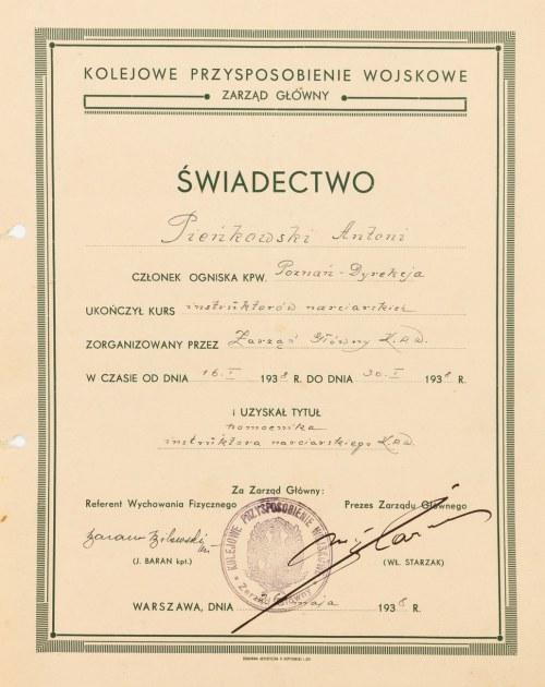 ŚWIADECTWO UKOŃCZENIA KURSU INSTRUKTORÓW NARCIARSTWA, 1938