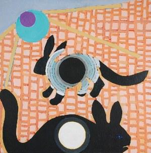Ryszard GRZYB (ur. 1956), Tęczanki śnione przez królika, na łące i jego formę z jaskini Platona, 2017