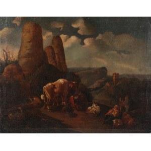 Malarz nieokreślony, XVIII w., Pejzaż ze sztafażem