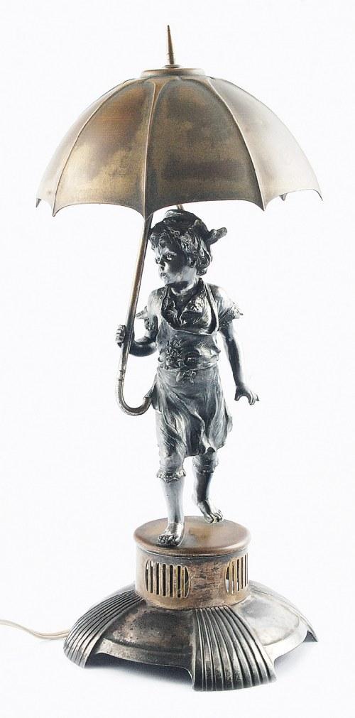Firma ARGENTOR-WERKE (czynna 1902-1970), Lampka na biurko, elektryczna, z figurką dziewczynki pod parasolem