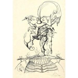 Salvador Dalí (1904 Figueras, Hiszpania - 1989 Figueras, Hiszpania), Z jednokolorowego cyklu: Zabawne sny Pantagruela, 1973