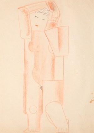 Marek Włodarski Henryk Streng, Akt stojący z rękami obejmującymi głowę, 1924-25