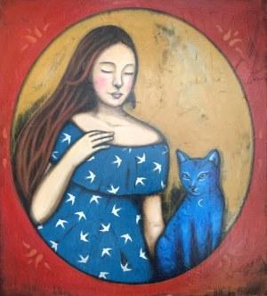 Małgorzata Rukszan, Dziewczyna z niebieskim kotem, 2019