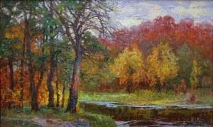 Jerzy Pogorzelski (1926-2003), Pejzaż jesienny z rzeką