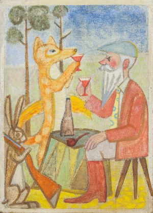 Zdzisław ADAMSKI (1925-1999), Toast myśliwego z lisem
