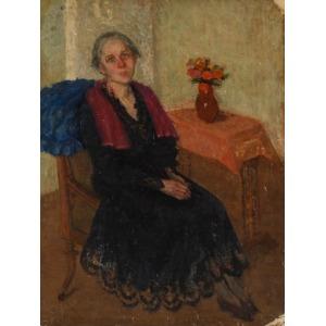 L. SCHELLEROWA, Obraz dwustronny KOBIETA PRZY STOLIKU / GÓRAL, 1926