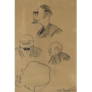 Mieczysław BEKIERSKI, KARYKATURY CZTERECH PROFESORÓW WYŻSZEJ SZKOŁY GOSPODARSTWA WIEJSKIEGO W CIESZYNIE, ok. 1930