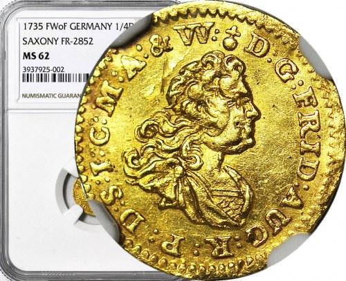 RR-, August II Mocny, 1/4 Dukata 1735 FwoF, Drezno, b. rzadki