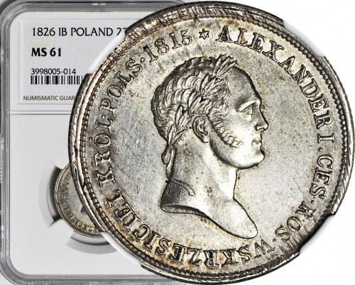 RR-, Królestwo Polskie, Aleksander I, 2 złote 1826 IB, NAJRZADSZY ROCZNIK, WYŚMIENITY