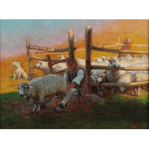 ZEFIRYN ĆWIKLIŃSKI (1871-1930), Koszar z owcami, 1922