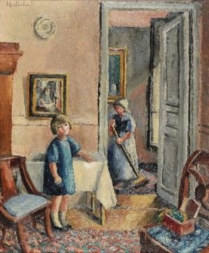 Alicja HALICKA (1894-1975), Wnętrze domu artystki z portretem córki