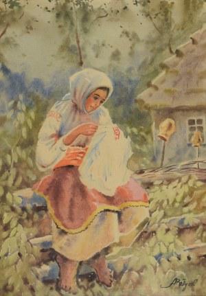 Adam BATYCKI (1886-1970), Wiejska dziewczyna szyjąca