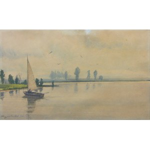 Tadeusz Nartowski (1892 Zręby k. Łomży - 1971 Szczecin), Pejzaż z żaglówką, 1953 r.