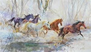 Zenon Aniszewski (ur. 1948 r. Grudziądz), Konie w galopie, 2019