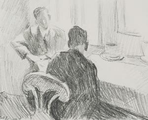 Stanisław KAMOCKI (1875-1944), Scena we wnętrzu, rozmowa mężczyzn, 1937