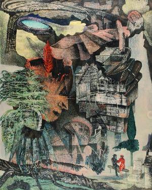 Danuta LESZCZYŃSKA-KLUZA (ur. 1926), Brzoza na wulkanie, 1990