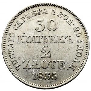 Zabór rosyjski, Mikołaj I, 30 kopiejek=2 złote 1835, Warszawa (MW) - skrętka