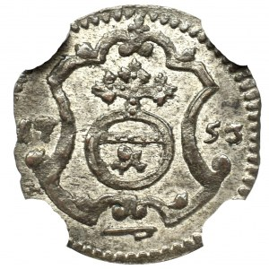 August III Sas, Halerz 1753 FWôF, Drezno - NGC MS62