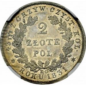 Powstanie Listopadowe, 2 złote 1831 NAJRZADSZY WARIANT - NGC MS61