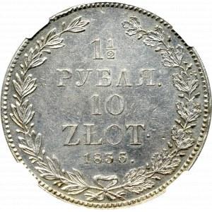 Zabór rosyjski, Mikołaj I, 1-1/2 rubla=10 złotych 1836, Petersburg - NGC UNC