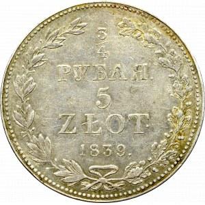 Zabór rosyjski, Mikołaj I, 3/4 rubla=5 złotych 1839, Warszawa