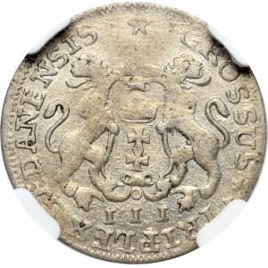 August III Sas, Trojak 1755 Gdańsk - NGC AU55