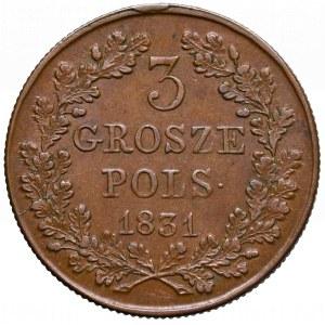 Powstanie Listopadowe, 3 grosze 1831 - łapy proste
