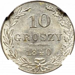 Zabór rosyjski, Mikołaj I, 10 groszy 1840 - NGC MS64